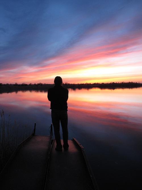 закат над одним из заливов Волги